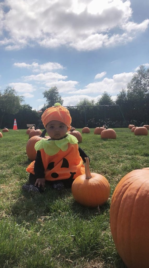 True Thompson#8217;s First Visit To The Pumpkin Patch #8212; How Adorable!