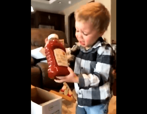 This Video Of A Boy Getting Ketchup For Christmas Is Everything!